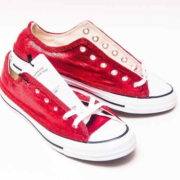 40f41e9b536 Red Sequin Low Top Converse All Star Sneakers